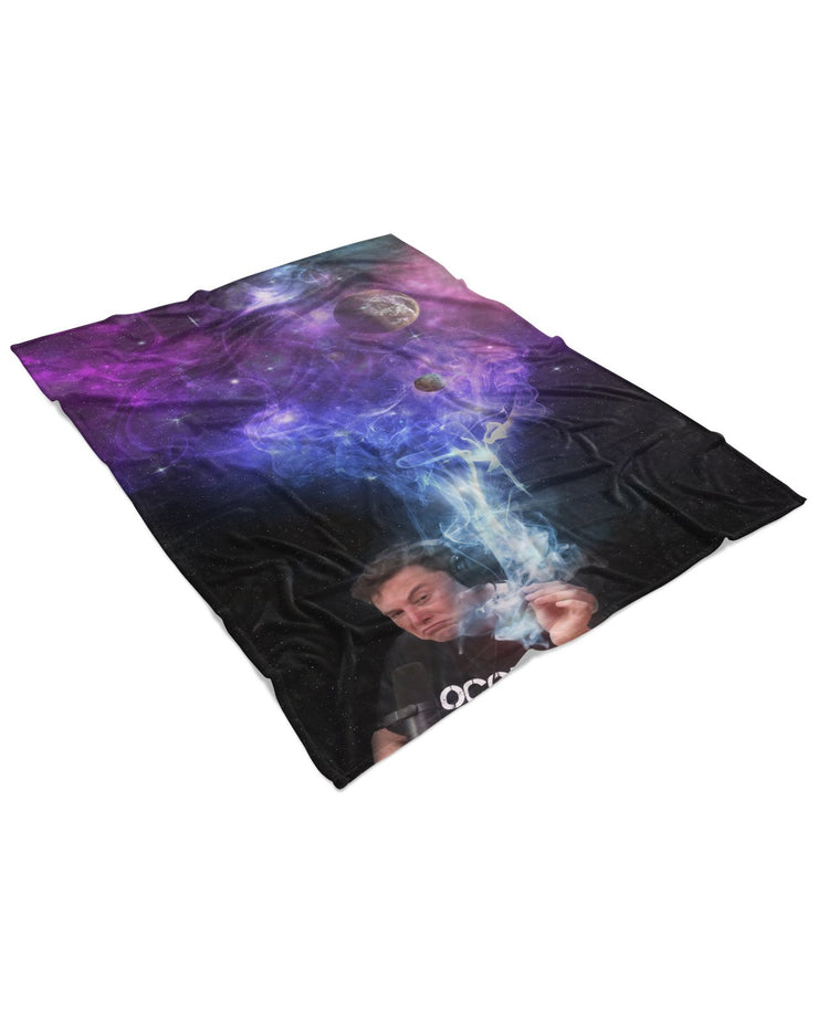 Elon Musk Smoking Galaxy Fluffy Micro Fleece Throw Blanket