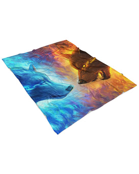 Fire and Ice Fluffy Blanket