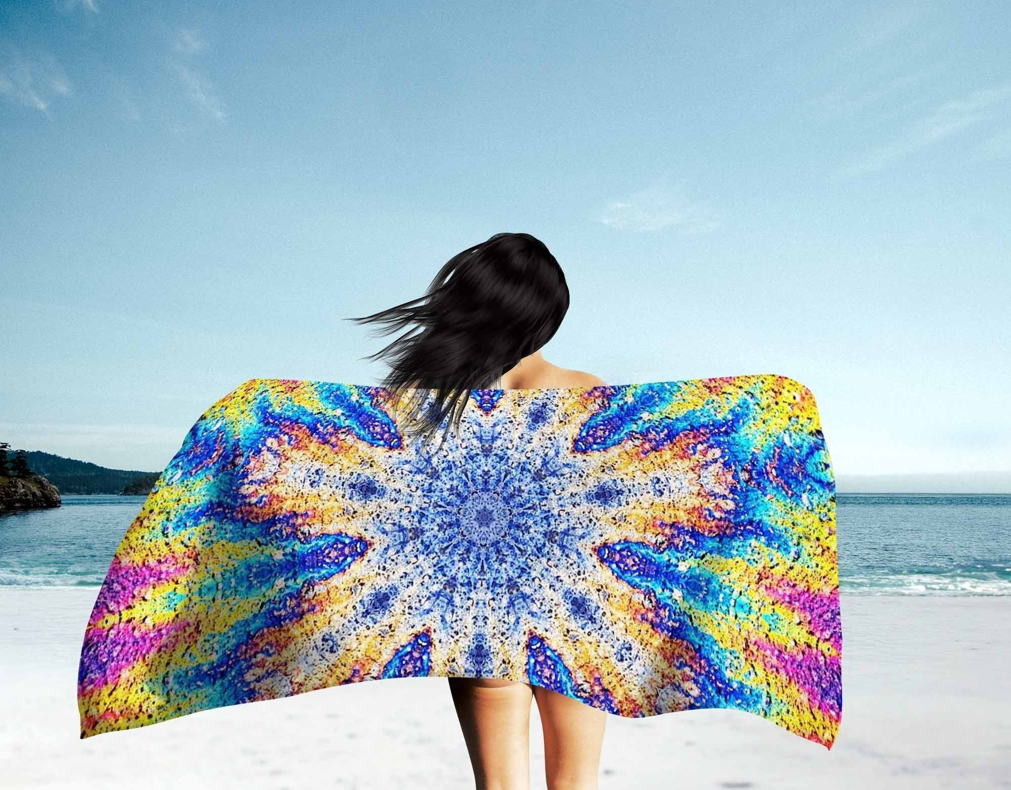 Oil Snowflake Beach Towel
