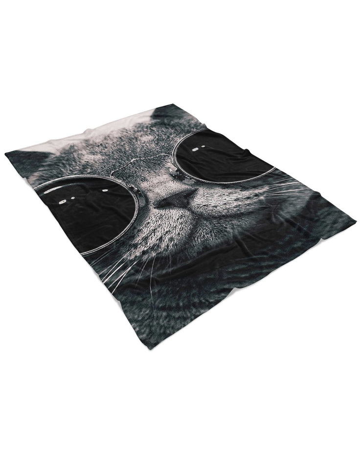 Hipster Cat Fluffy Micro Fleece Throw Blanket