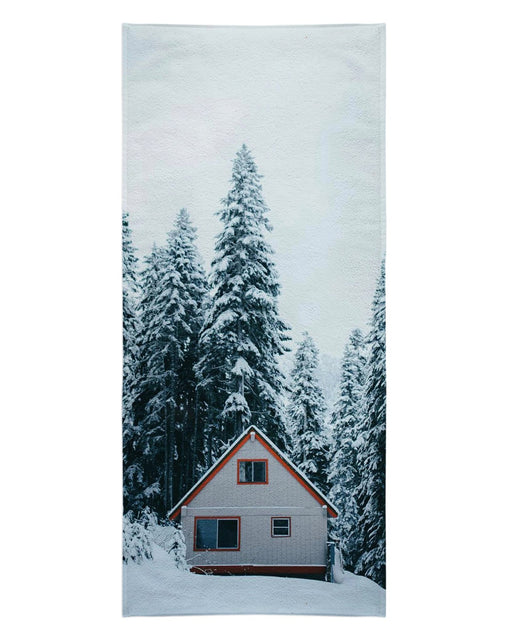 Winter Cabin printed all over in HD on premium fabric. Handmade in California.