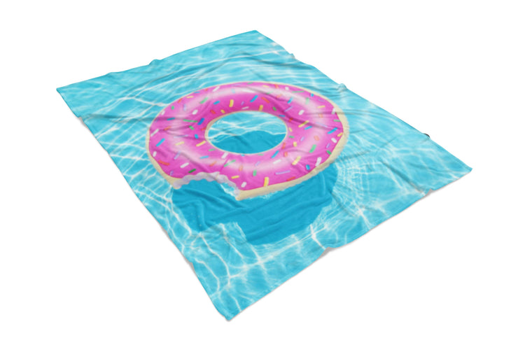 Pool Donut Fluffy Micro Fleece Throw Blanket