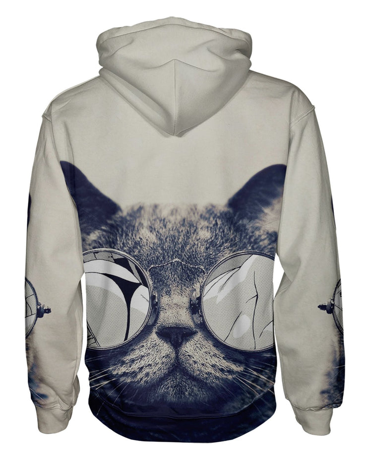 Hipster Kitty Pullover Hoodie