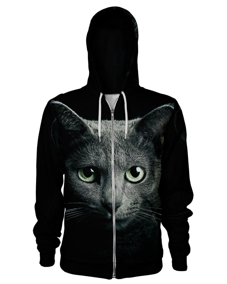 Black Cat Women's Zip Hoodie