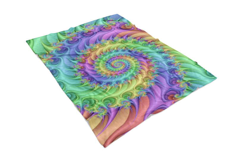 Rainbow Spiral Fluffy Micro Fleece Throw Blanket