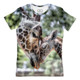 Giraffe Love printed all over in HD on premium fabric. Handmade in California.
