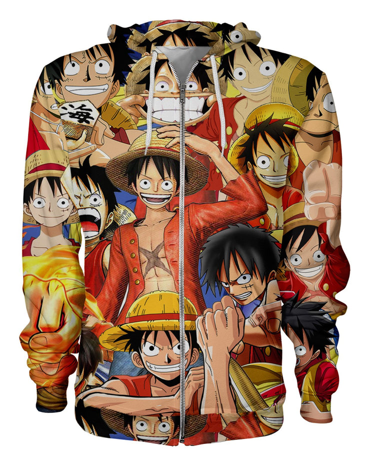Monkey D Luffy printed all over in HD on premium fabric. Handmade in California.