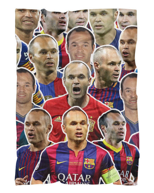 Andres Iniesta printed all over in HD on premium fabric. Handmade in California.