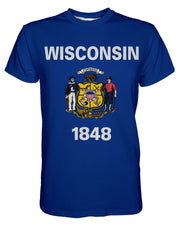 Wisconsin Flag printed all over in HD on premium fabric. Handmade in California.