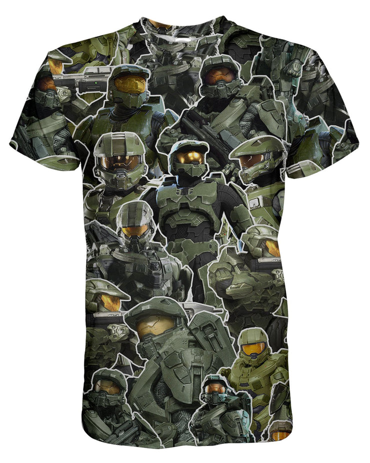 Master Chief Collage printed all over in HD on premium fabric. Handmade in California.