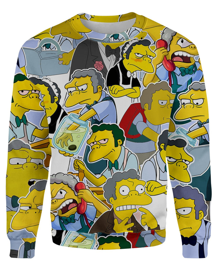 Moe Szyslak printed all over in HD on premium fabric. Handmade in California.