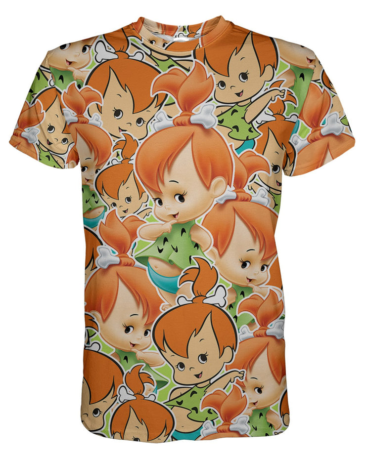 Pebbles Flintstone printed all over in HD on premium fabric. Handmade in California.