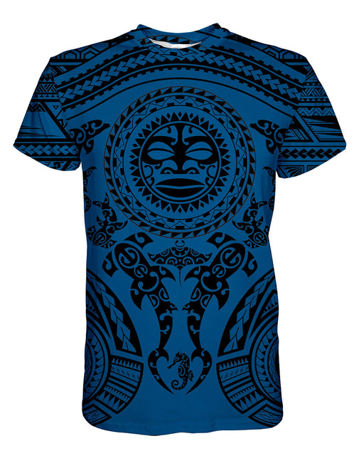 Maori Blue printed all over in HD on premium fabric. Handmade in California.