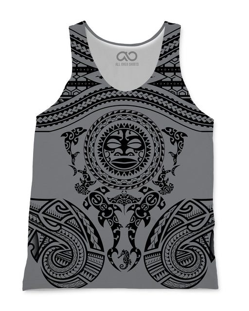 Maori Grey printed all over in HD on premium fabric. Handmade in California.