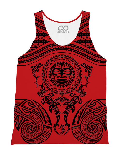 Maori Red printed all over in HD on premium fabric. Handmade in California.