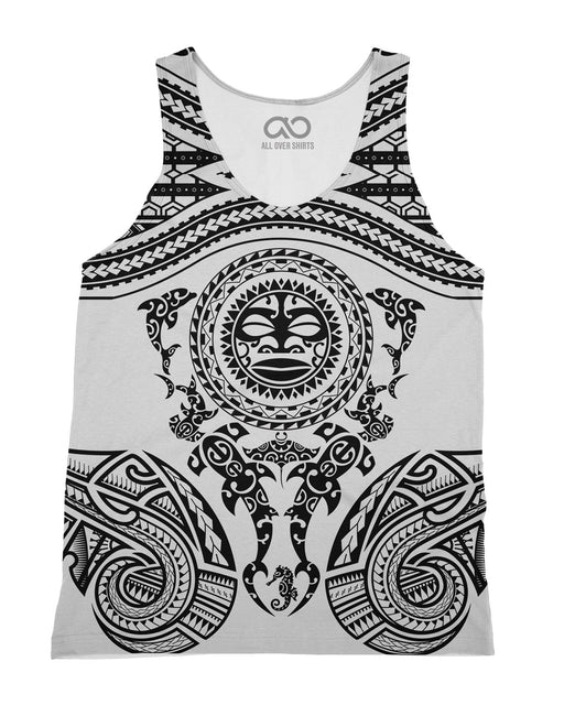 Maori White printed all over in HD on premium fabric. Handmade in California.