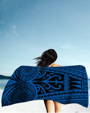 Ta Tau Black and Blue Beach Towel