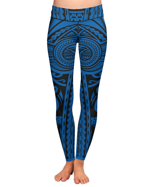 Ta Tau Black and Blue Yoga Leggings