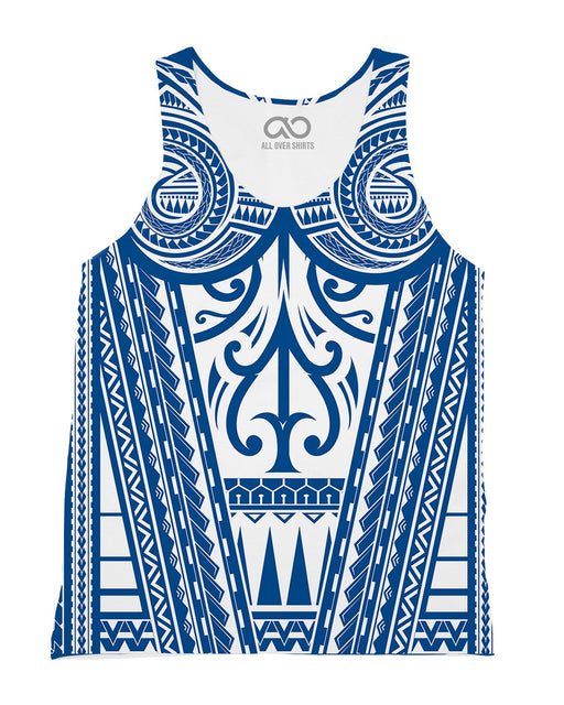Ta Tau White and Blue printed all over in HD on premium fabric. Handmade in California.