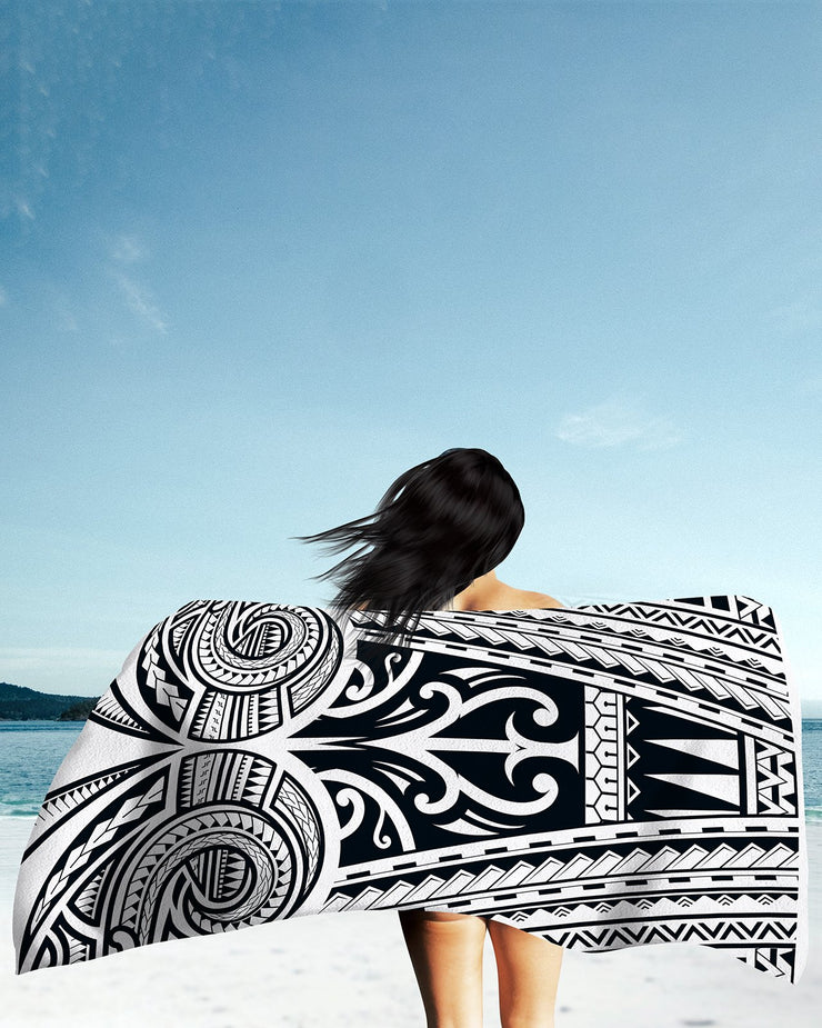 Ta Tau White Beach Towel