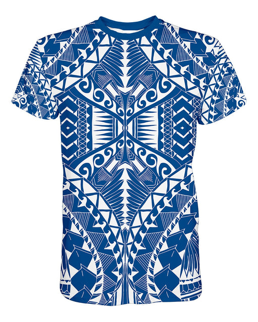 Samoa Blue printed all over in HD on premium fabric. Handmade in California.