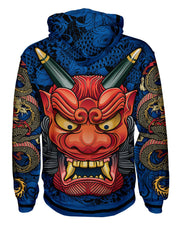 Oni Mask Blue Pullover Hoodie