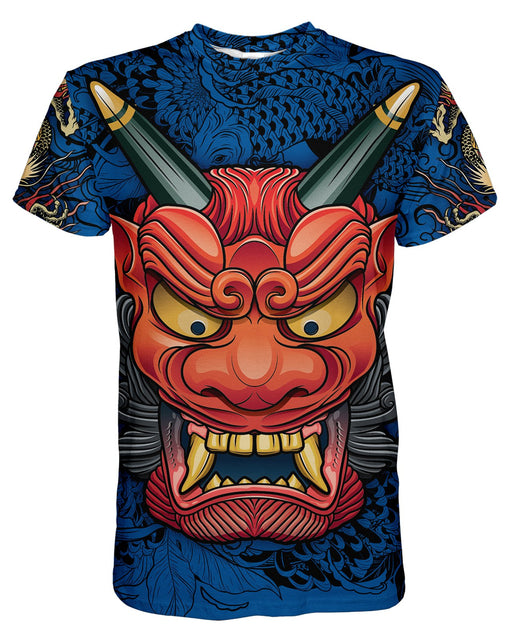 Oni Mask Blue printed all over in HD on premium fabric. Handmade in California.