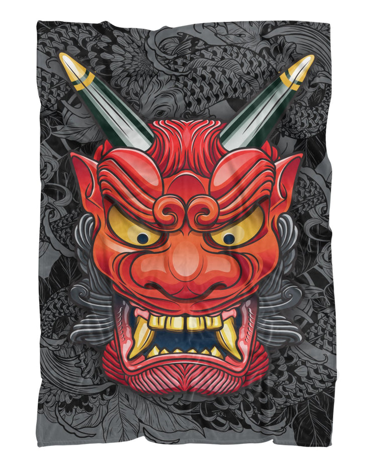 Oni Mask Gray Fluffy Micro Fleece Throw Blanket