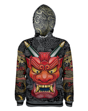 Oni Mask Gray Pullover Hoodie