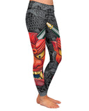 Oni Mask Gray Yoga Leggings