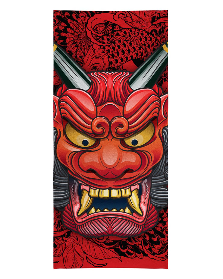 Oni Mask Red Beach Towel