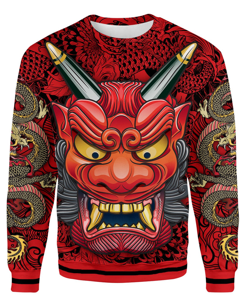 Oni Mask Red Unisex Sweatshirt