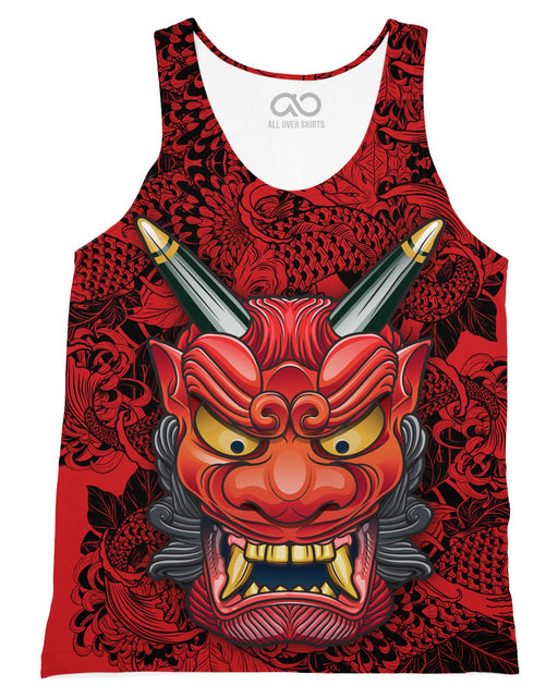 Oni Mask Red printed all over in HD on premium fabric. Handmade in California.