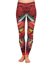 Oni Mask Red Yoga Leggings
