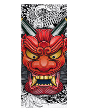 Oni Mask White Beach Towel