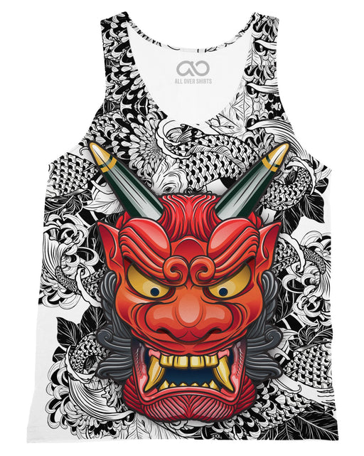 Oni Mask White printed all over in HD on premium fabric. Handmade in California.