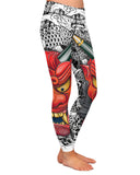 Oni Mask White Yoga Leggings