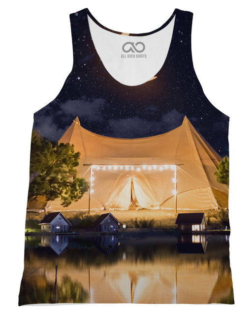 Camping printed all over in HD on premium fabric. Handmade in California.