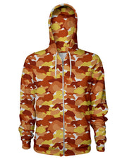 Color Camo Fall Feeling Zip Hoodie