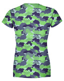 Color Camo Neon Field Womens T-shirt