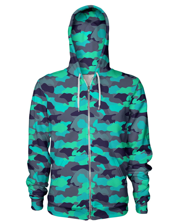 Color Camo Glo Up Zip Hoodie