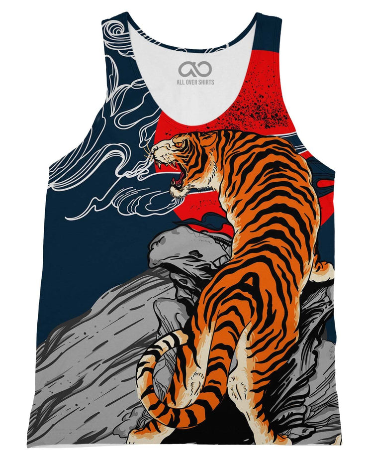 Sunrise Tiger printed all over in HD on premium fabric. Handmade in California.