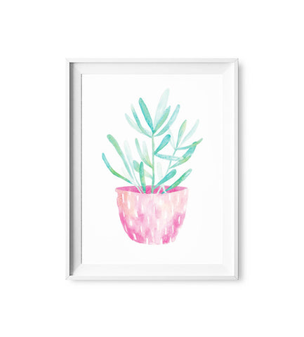 Neon Pink Plant Watercolor Print