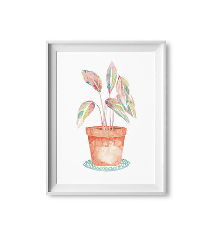 Rainbow Plant Watercolor Print