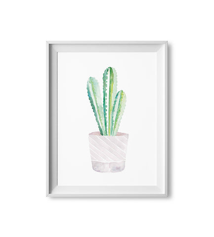 Purple Cactus Watercolor Print
