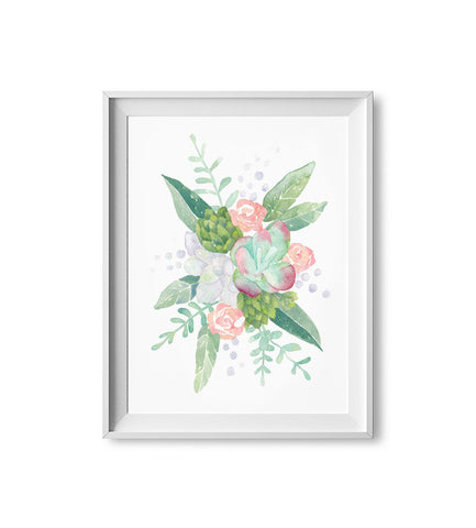 Succulent Bouquet Watercolor Print