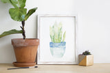 Blue Potted Plant Watercolor Print