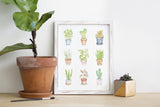 Mini Plants Watercolor Print