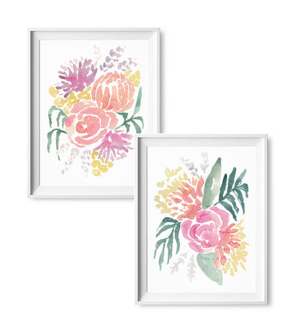 Rosy Posy Watercolor Print - Set of 2