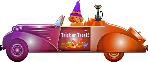 witch driving halloween car